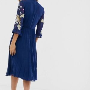 ASOS Dresses - ASOS Blue Floral Embroidered Pleated LS Dress